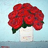 Red Roses in a White Vase