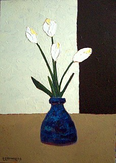 White Tulips in a Blue Vase
