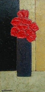 Red Bouquet in a Tall Vase