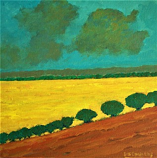 Yellow Field and Passing Clouds